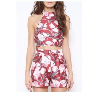 L'ATISTE Floral High Waisted Burgundy Shorts